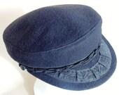 Greek Fisherman's Black Hat/Cap Wool & Nylon Made In Greece 57 - 7 1/2 NEVER WORN MINT