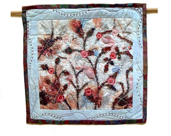 Garden in blue and pink, contemporary Art Quilt, white pink blue,  small textile artwork, colorful flowers, hand embroidery, delicate floral