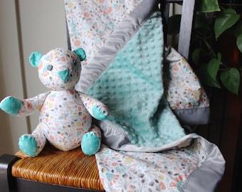 Minky Blanket with Teddy Bear