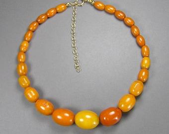 Vintage Bakelite Egg Yolk Amber Necklace, Catalin Beads