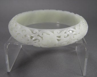 Carved Jadeite Bracelet, High Grade Jadeite, Incredible, Nephrite Bangle, Pale Green, Vintage Chinese Jewelry, Mother Daughter Gift