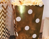 GLAM SALE 36 Mini Popcorn Favor Boxes in Chevron, Stripe or Polka Dot, Mini Popcorn Favor Boxes, Gold and Silver Wedding Favor Boxes