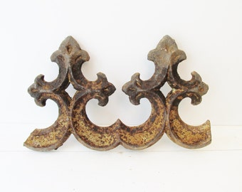 Rusty Iron Salvage Piece - Vintage Fence - Antique Architectural Garden - Fleur de Lis