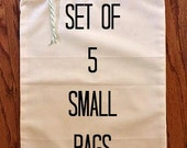 5 Reusable Bulk Bin Bags Small - Grocery Bag, Shopping Bag, Vegetable Bag, Farmers Market, Five bags