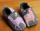 Llama Slippers / Kids Slippers / Baby Girl Shoes /Shoes Mimimalist Soft Soled Toddler Slippers Leather Soles / Winter Boy Girl