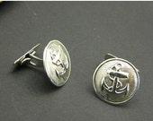 sale anchor cufflinks sterling silver ,nautical men's cuff links
