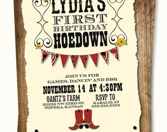 Cowboy or Cowgirl Hoedown Invitations - FREE SHIPPING
