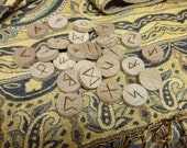 Walnut rune set - round - Elder Futhark - FREE DOMESTIC SHIPPING
