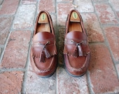 Vintage Mens 10 Cherokee Leather Brown Classic Boat Deck Shoes Loafers Tassel Loafers Frill Fringe Casual Shoes Spring Fashion Hamptons