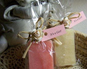 It's a Girl, Baby shower favors, 30 mini soaps, shea butter, handmade, PINK and Beige soaps.