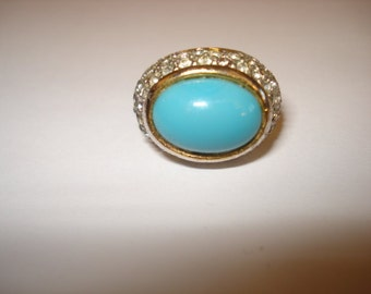 Vintage 1960s Turquoise Rhinestone Large Costume Cocktail Ring Size 6.75""
