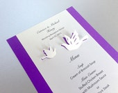 Love Birds Themed Wedding Menu or Program Card, Event Planning, Summer Wedding, Pigeons, Doves Cutout, Scrapbook, Papercut by Naboko
