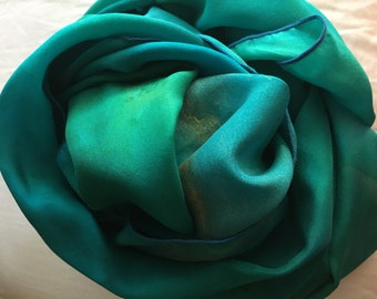Jewel Turquoise Blues & Green Silk Shawl Handpainted by The Silk Maid