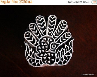 THANKSGIVING SALE Hand Carved Indian Wood Textile Stamp Block- Fantail Pigeon