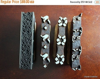 THANKSGIVING SALE Hand Carved Indian Wood Textile Stamp Block Set- OOAK Four Color Geometric Style Floral Border