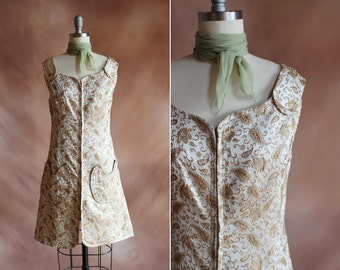 vintage 1960's metallic gold & cream paisley sparkle brocade mini zip-up dress / size s