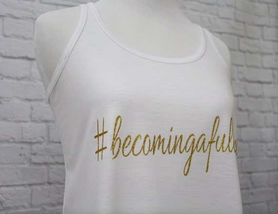 Custom Hash Tag Bridal Party Tank Tops Custom Names Flowy Racerback Tank Women's Pictured in White printed in Gold Glitter