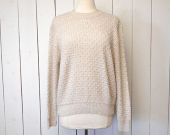 Bubble Knit Sweater 1970s Boho Vintage Slouchy Pullover Sweater Light Tan Large XL