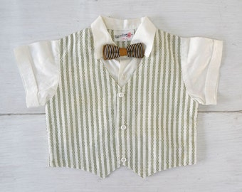Baby Boy Suit Shirt 70s Vintage Bow Tie Pin Stripe Button Up Top