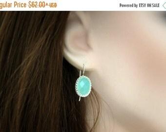SUMMER SALE - aqua dangle earrings,chalcedony earrings,delicate earrings,everyday earrings,simple stone earrings