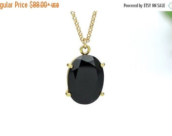 SUMMER SALE - Black onyx pendant,onyx necklace,gold necklace,prong necklace,prong pendant,long necklace,gold pendant