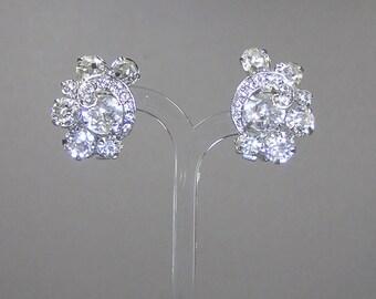 Weiss Rhinestone Earrings, Vintage Clip, Clear Rhinestone, 50's, Rockabilly, Glam