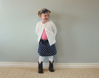 CLEARANCE Navy Blue and White Polka Dot and Chevron Boutique Ruffle Waist Skirt