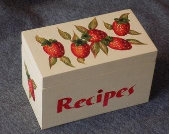 Recipe Box -- Strawberry Design on Buttermilk Box