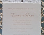 Vintage Lace Christening / Baptism Invitation card, with Satin Ribbon, and a silver metal Cross