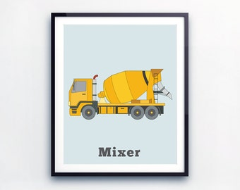 CONCRETE TRUCK PRINT, Prints for boys, toddler wall art, Toddler Boy Room Decor, Nursery wall art, Construction Vehicles, gift for boys,