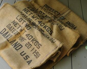 Burlap Sack Vintage/Psyllium Seed Sack/ / Gunny Sack/Rustic Decor SALE