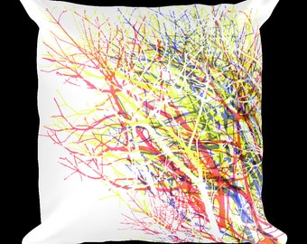 Abstract Trees 18x18 Designer Throw Pillow