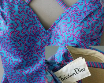 70's CHRISTIAN DIOR Swimsuit ~ Hot Electric Blue Swimsuit ~ Size 12 B cup