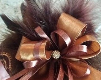"""Fancy Brown With Gold With Marabou Feathers By Nina's Couture Closet """"Exclusive Line Bella """""""