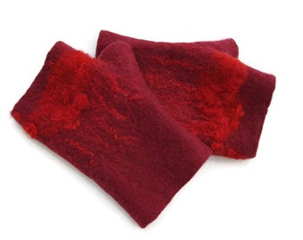 Felted Fingerless gloves Fingerless Mittens Arm warmers Gloves - Burgundy, Red
