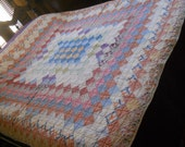 Vintage Trip Around the World Style Quilt-Handmade/Hand Quilted-Rustic Colors
