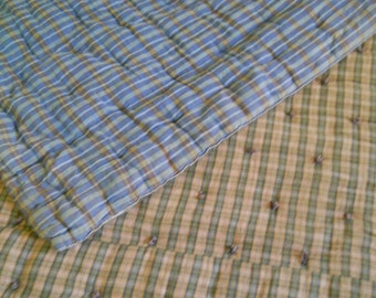 Vintage Brown Plaid/Blue Plaid Hand Tied String Tied Rustic Comforter/Quilt--Camping-Lodge-Cabin