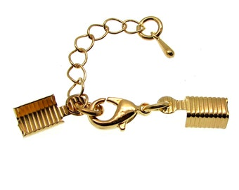 10 Dark Gold Cord Ends with Lobster Clasp & Extender Chain / Ribbon Crimp / Crimp Ends / Fold Over Crimps 75642-2.H3H