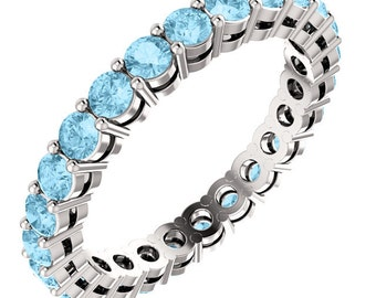 Stackable Classic Aquamarine  Eternity Band Ring in 14kt White  ,Rose or Yellow Gold  ST233091   *****On Promotion*****
