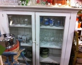 Gorgeous 2 door glass front vintage cabinet