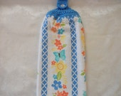 Hanging Double Kitchen Towel Butterfly and FlowerTowel Hanging Crochet Top flower and Butterfly Towel