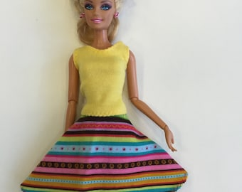 Gorgeous colorful striped  Puffy skirt, Barbie skirt handmade Barbie clothes modest Barbie