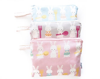 Small Zippered Wet Bag Pouch with Waterproof Lining - Bunny Rabbit (Pink, Blue or Gray)