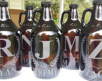 Engraved beer growler, custom  beer growler, personalized name growler, groomsmen gift, wedding gift, monogrammed growler
