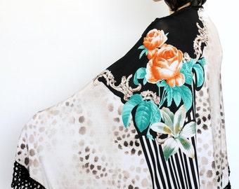 Cream Black Green floral Shawl combining crochet and fabric Gypsy shawl,  Russian Style Shawl,