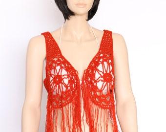 Orange vest Boho hippy vest, Crochet vest Summer festival