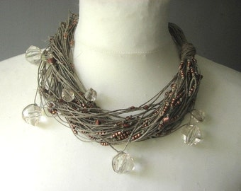 Brown Cristal - linen necklace