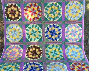 Antique VINTAGE Wagon Wheel STAR Quilt COLORFUL Bold
