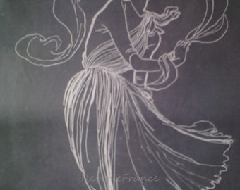 Original Vintage French Fashion Ad Dress Fliuid Drape Gres 1949  Rene Gruau
