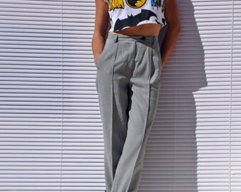 Pleated 50s Pants Grey Gingham Pants High Waist Pants Pin Up Pants Taylored Pants Check Pants Grey Trousers Pleated Trousers Wide Leg Pant